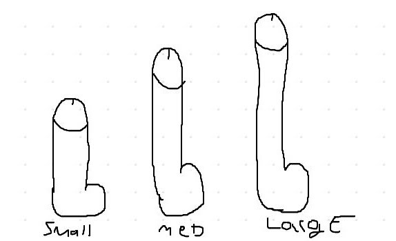 sizes of different dildos