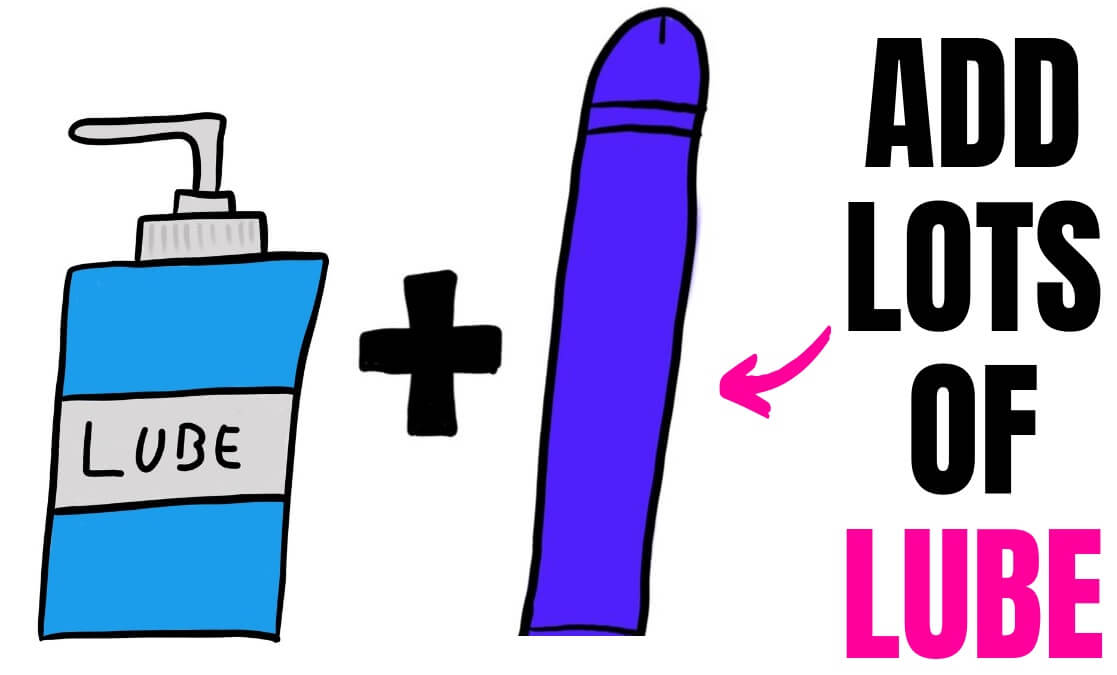bottle of lubricant and a purple dildo