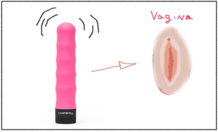 a cartoon vibrator and vagina