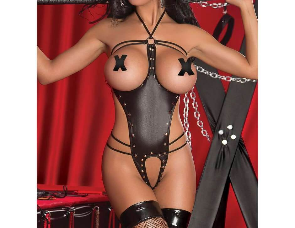 woman in sexy bdsm lingerie