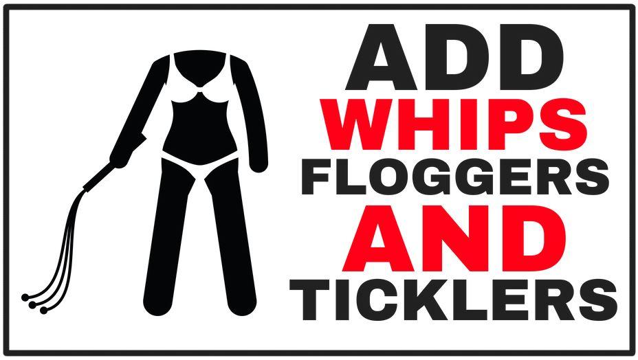 cartoon holding a flogger