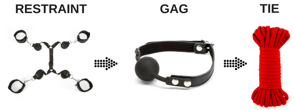 ties, bdsm rope and a ball gag
