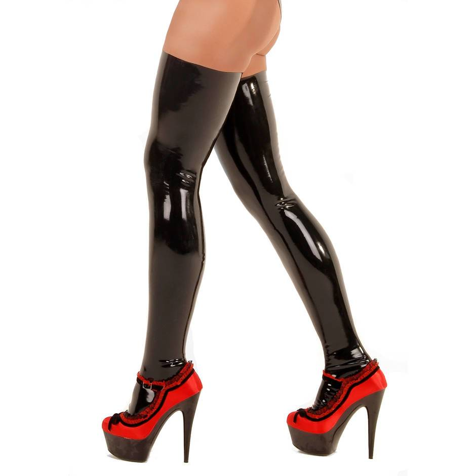 rubber latex stockings on model wearing red high heels