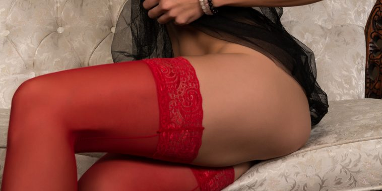 "woman in red stockings""and night dress"