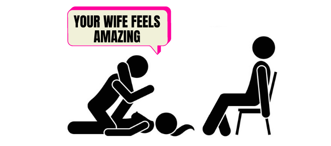 cartoon of man watching another man seduce his wife