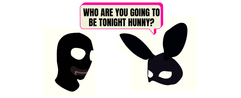 cartoon role play in bdsm masks