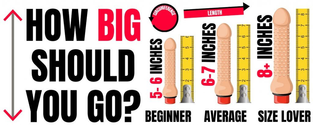 different sizes of dildos being measured